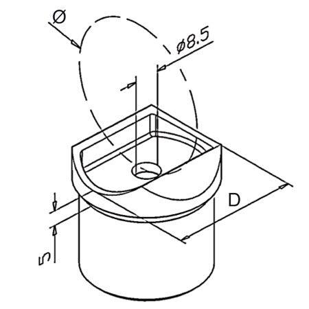 Adaptateur tube/tube Poli miroir