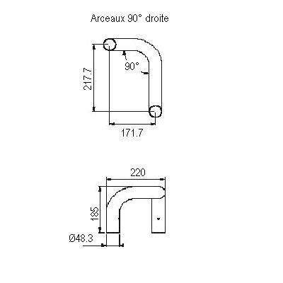 Arceau asymétrique 90° droite