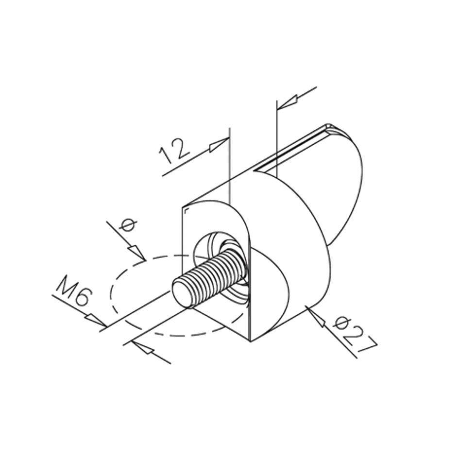 Butée pour profil rond - aspect laiton poli