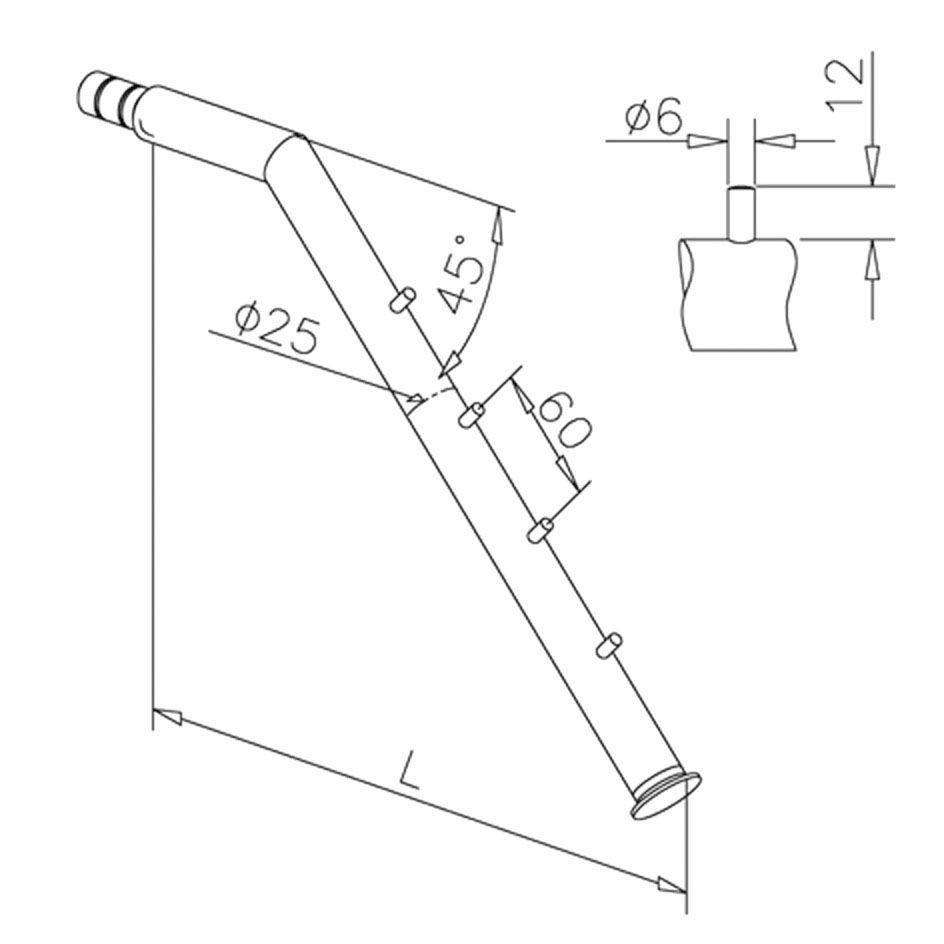 Console oblique Ø25mm - L 350 mm pour cintres - aspect inox brossé