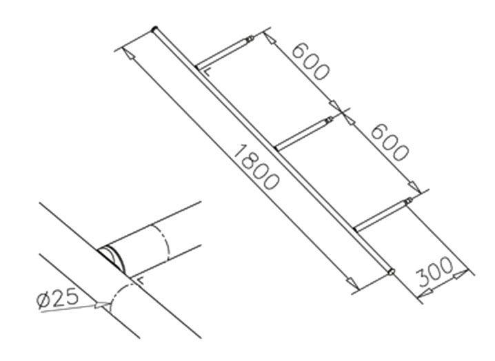 Console transversale - Ø25mm - L 1800 mm - aspect inox brossé