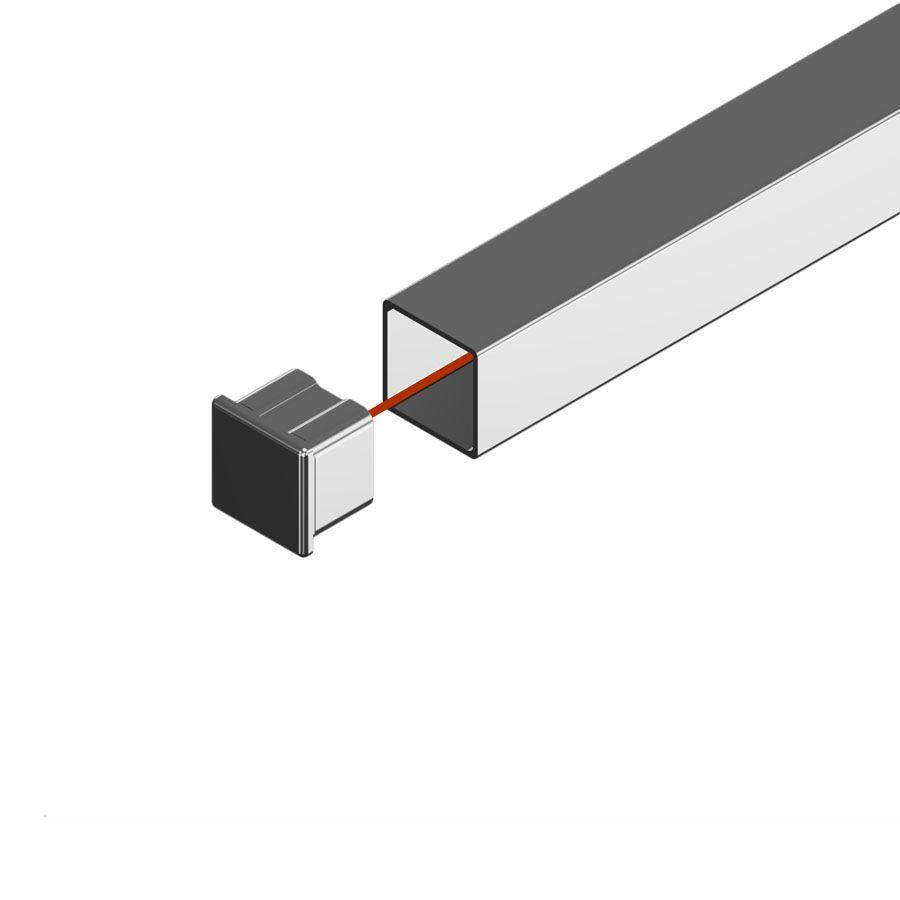 Embout plat à coller pour tube carré
