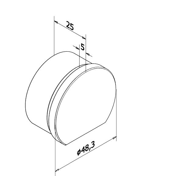 EMBOUT PLAT POUR MAIN COURANTE LED Ø48.3 mm - INOX 316