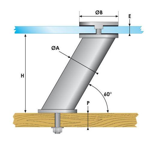Entretoise inclinée avec cabochon - fixation traversante
