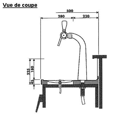 Evier + rince-verres + égouttoir 2000 x 500 mm.