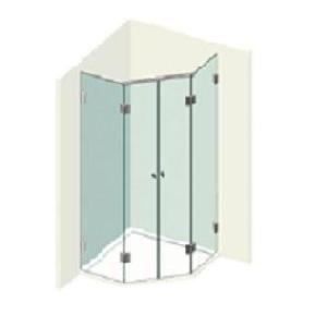 Kit 2 portes de douche pentagonales
