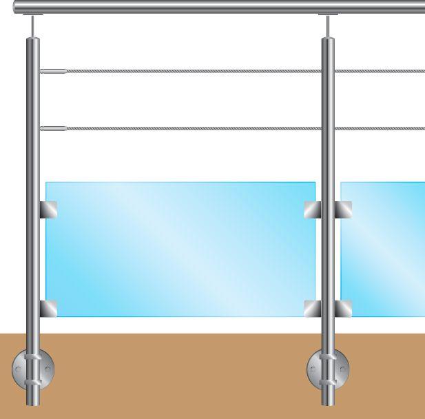 KIT POTEAU - FIXATION à L\'ANGLAISE - Ø42,4 x 2 mm - 2 CABLES Ø4 mm + VERRE