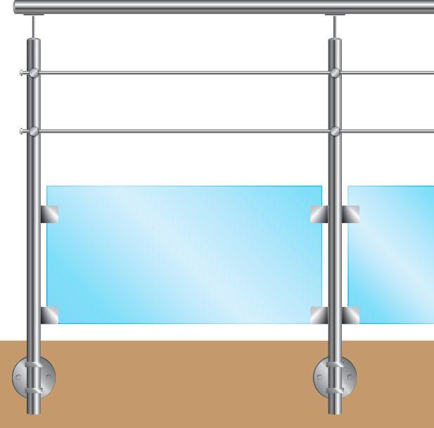KIT POTEAU - FIXATION à L\'ANGLAISE - Ø42,4 x 2 mm - 2 TIGES Ø12mm + VERRE