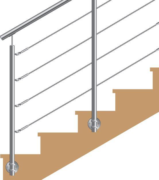 KIT POTEAU - FIXATION à L\'ANGLAISE - Ø42,4 x 2 mm - 4 CABLES GAMME DESIGN