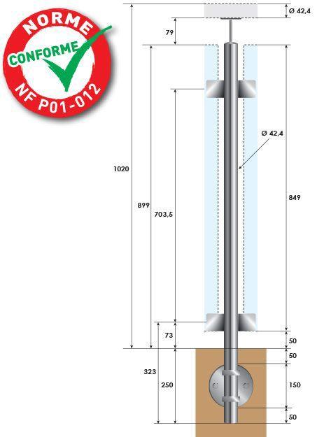 KIT POTEAU - FIXATION à L\'ANGLAISE - Ø42,4 x 2 mm - VERRE TOTAL