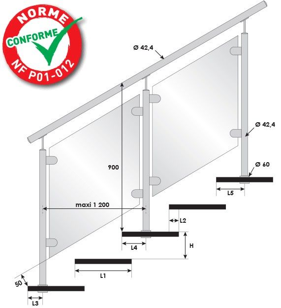 KIT POTEAU - FIXATION TRAVERSANTE - Ø42,4 x 2 mm - VERRE TOTAL