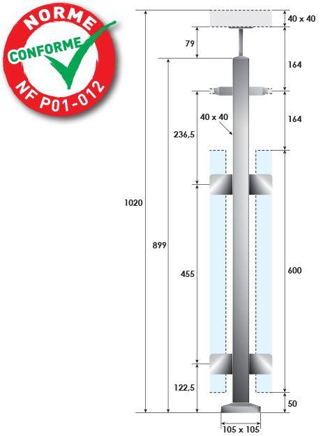 KIT POTEAU CARRé - FIXATION à LA FRANçAISE - 1 TIGE Ø12 mm + VERRE