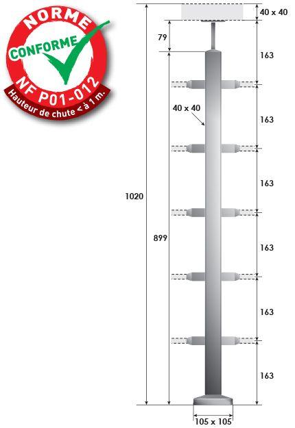 KIT POTEAU CARRé - FIXATION à LA FRANçAISE - 40 x 40 x 2 mm - 5 TIGES Ø12 mm
