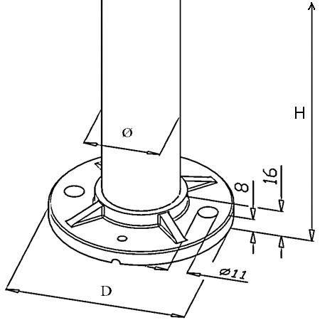 Kit poteau de balustrade modèle 25 - H 970 mm
