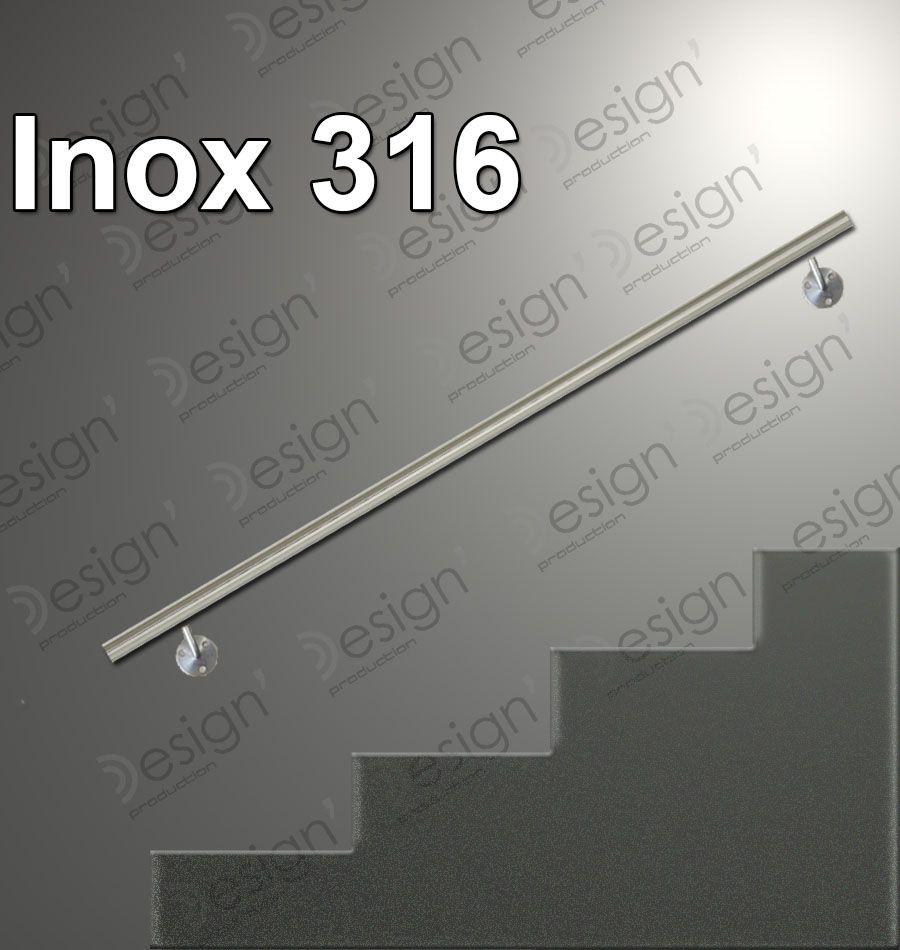 Main courante inox en kit - extérieur - inox 316