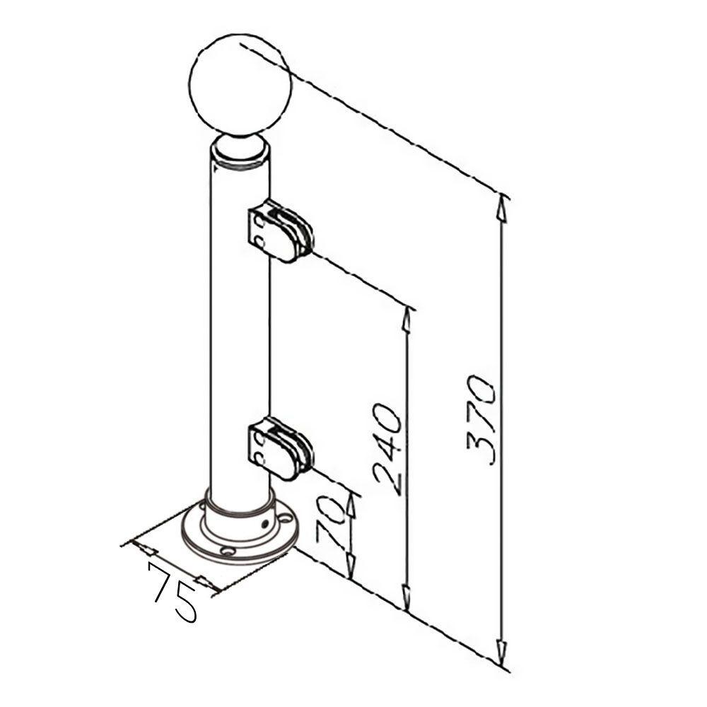 Modèle 902 - fixation 3 points - Ø 38,1 mm - Chromé brillant