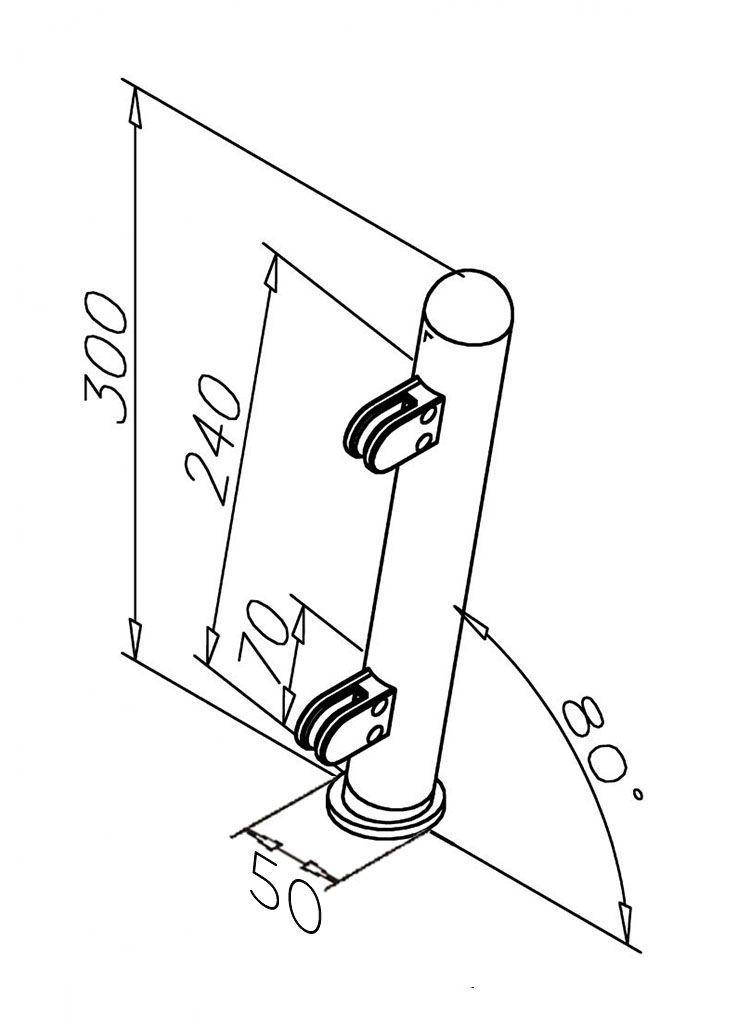 Modèle 905 - fixation invisible - Ø 38,1 mm - Chromé brillant