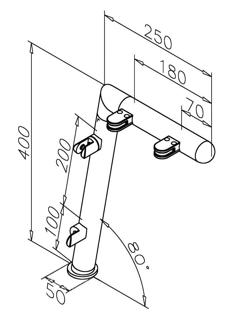 Modèle 906 - fixation invisible - Ø 38,1 mm - Chromé brillant