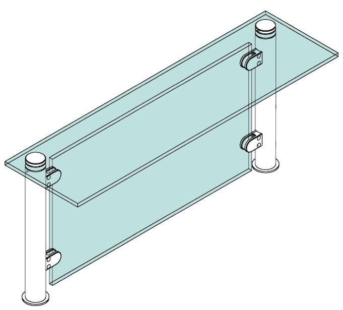 Modèle 909 - fixation invisible - Ø 25,4 mm - Aspect inox brossé