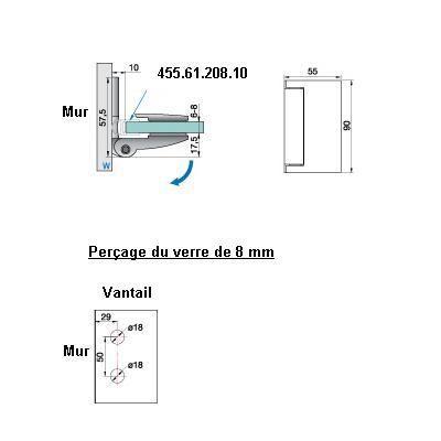 Penture verre/mur 90° ouverture extérieure