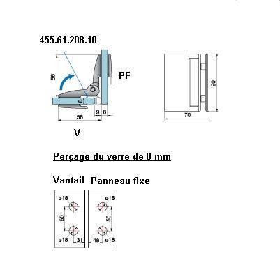 Penture verre/verre 90° ouverture intérieure