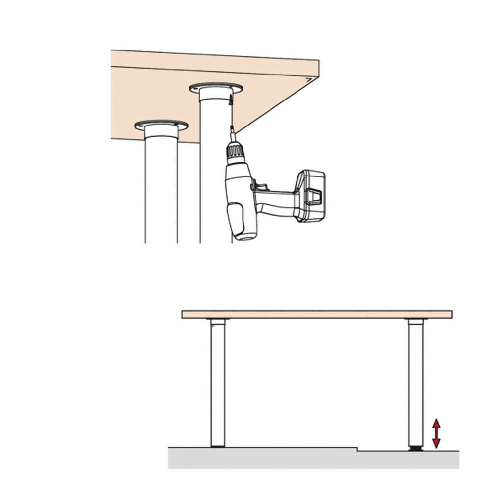 Pied de table - aspect inox brossé