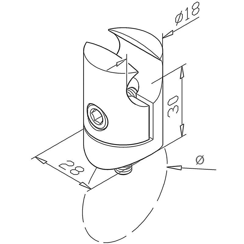 Pince pour profil Ø18 mm sur tube