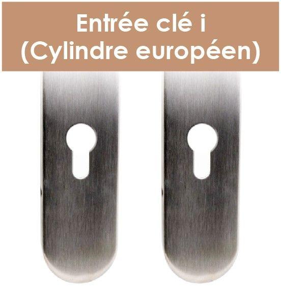 Plaque de porte inox avec béquille ronde angle vif