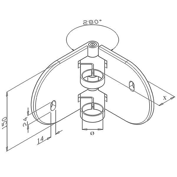 Platine de fixation d\'angle 90° modèle 55