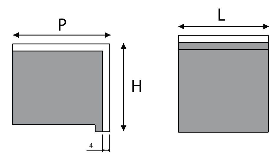 Poignée bouton carré fixe inox et téflon noir