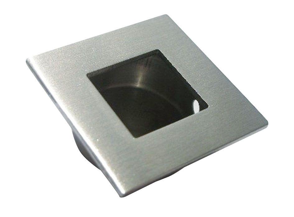 Poignée cuvette carrée inox pour porte bois