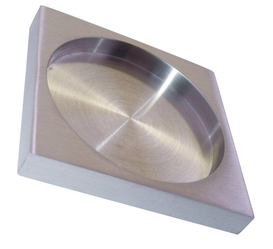 Poignée inox carrée à coller pour porte verre ou bois