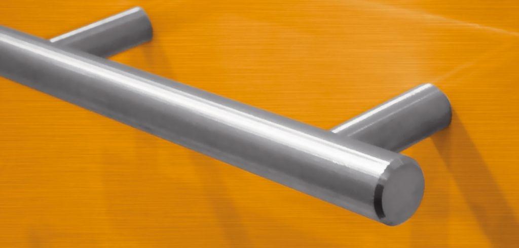 Poignée inox droite sur mesure pour meubles et tiroirs