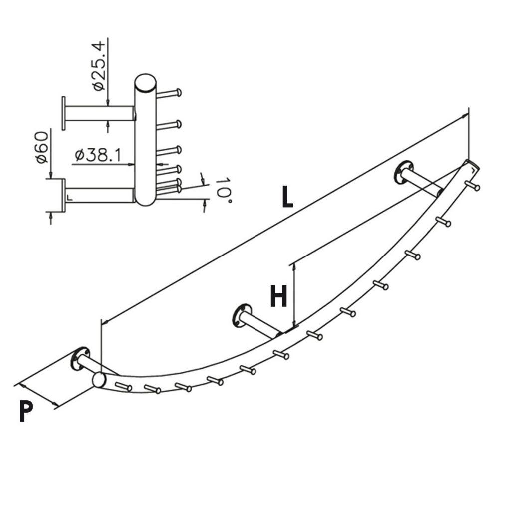 Porte-manteaux modèle 746 - Ø38.1 mm - aspect laiton poli