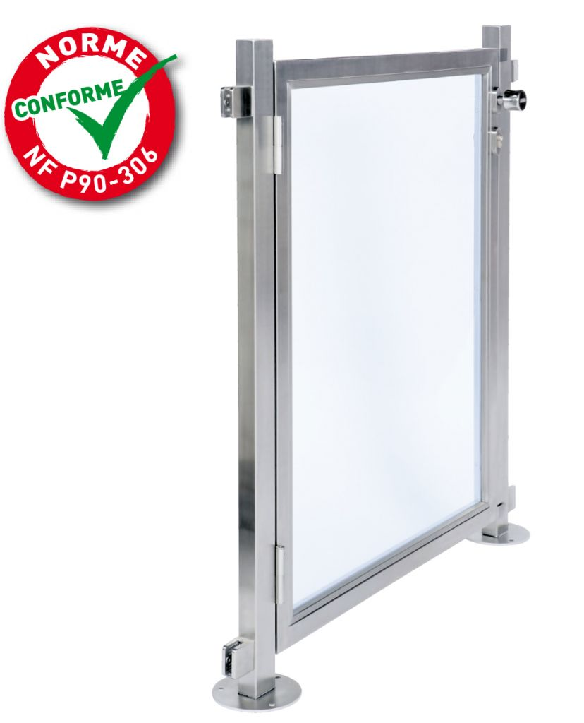 Portillon pour barri re de piscine inox 316 poli miroir for Barriere piscine verre inox