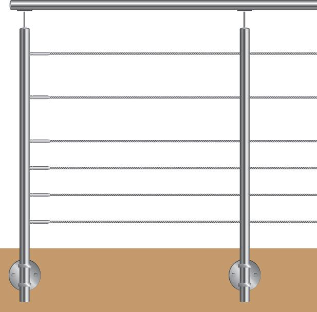 POTEAU FIXATION ANGLAISE 6 CABLES DESIGN