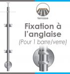 POTEAU PREMONTE - �42,4 x 2 mm - 1 TIGE �12 mm + VERRE - FIXATION � L\'ANGLAISE