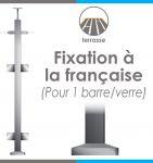 POTEAU PREMONTE CARR� 40 x 40 x 2 mm - POUR 1 TIGE �12 mm + VERRE - FIXATION � LA FRAN�AISE