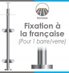 POTEAU PREMONTE �42,4 x 2 mm - POUR 1 TIGE �12 mm + VERRE - FIXATION � LA FRAN�AISE