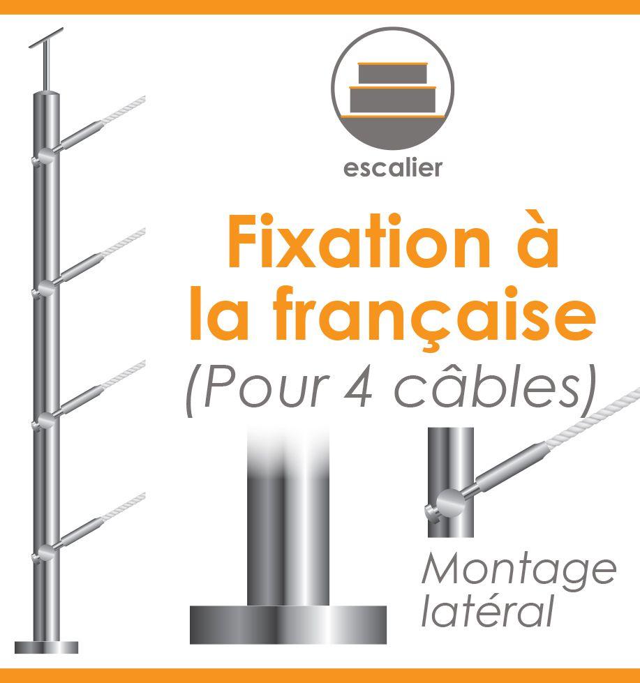 POTEAU PREMONTE Ø42,4 x 2 mm - POUR 4 CABLES Ø4 mm MONTAGE LATERAL - - FIXATION à LA FRANçAISE -