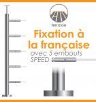 POTEAU PREMONTE �42,4 x 2 mm - POUR 5 CABLES SPEED - FIXATION FRANCAISE