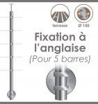 POTEAU PREMONTE �42,4 x 2 mm - POUR 5 TIGES �12 mm - FIXATION � L\'ANGLAISE