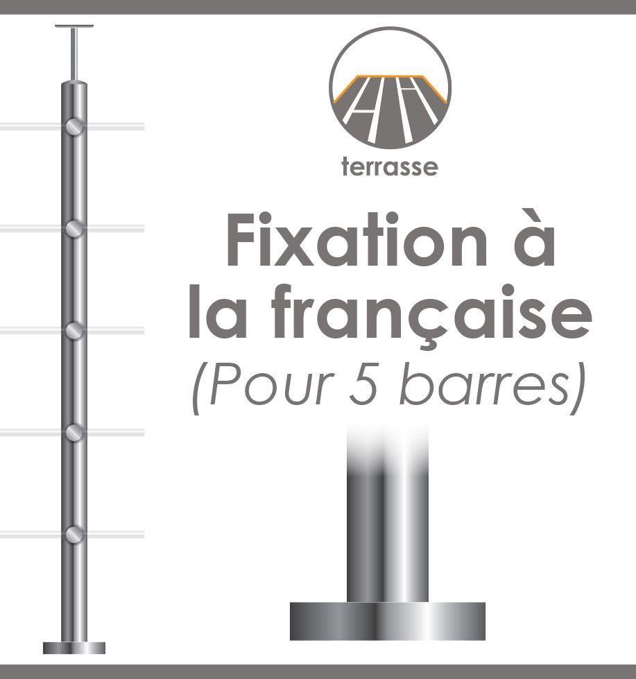 POTEAU PREMONTE Ø42,4 x 2 mm - POUR 5 TIGES Ø12 mm - FIXATION à LA FRANçAISE