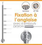 POTEAU PREMONTE �42,4 x 2 mm - POUR 6 CABLES DESIGN - FIXATION ANGLAISE