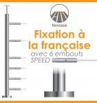POTEAU PREMONTE �42,4 x 2 mm - POUR 6 CABLES SPEED - FIXATION FRANCAISE