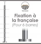 POTEAU PREMONTE �42,4 x 2 mm - POUR 6 TIGES �12 mm - FIXATION � LA FRAN�AISE