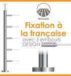 POTEAU PREMONTE �42,4 x 2 mm - POUR MONTAGE 5 CABLES DESIGN - FIXATION FRANCAISE