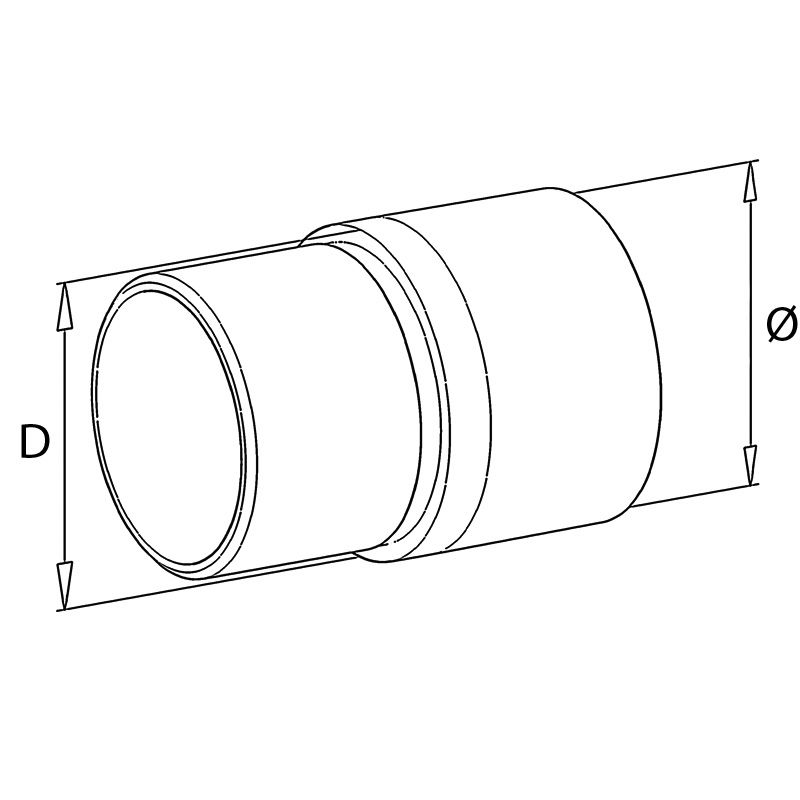 Raccord de liaison main courante bois sur tube inox