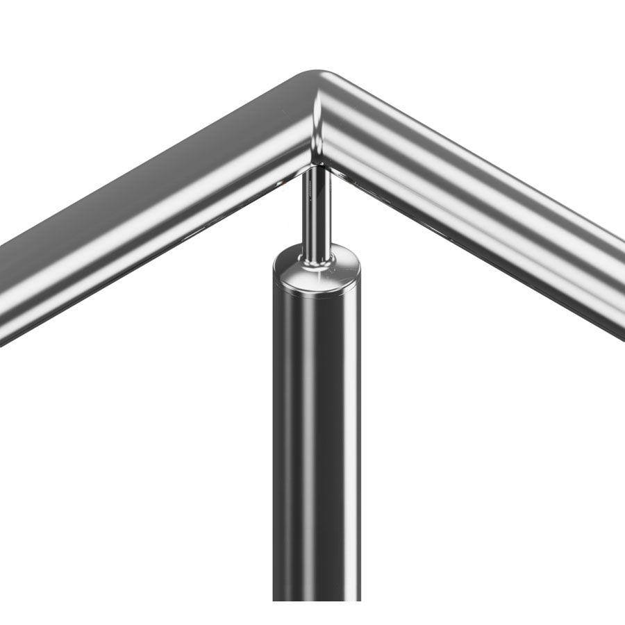 Support fixe à 90° main courante ronde poli miroir