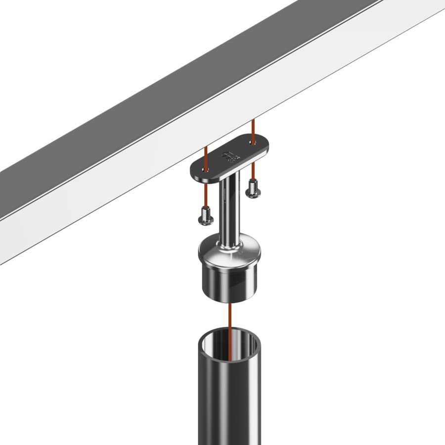 Support fixe main courante plate poli miroir